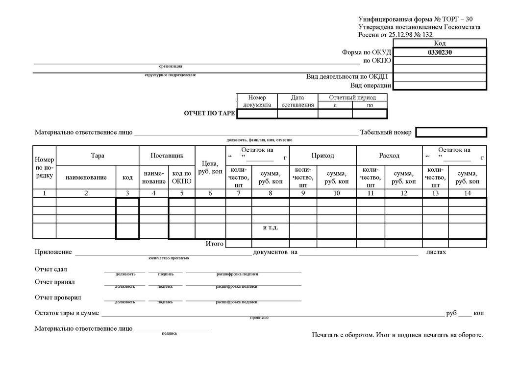 ТОРГ-30. Отчет по таре.